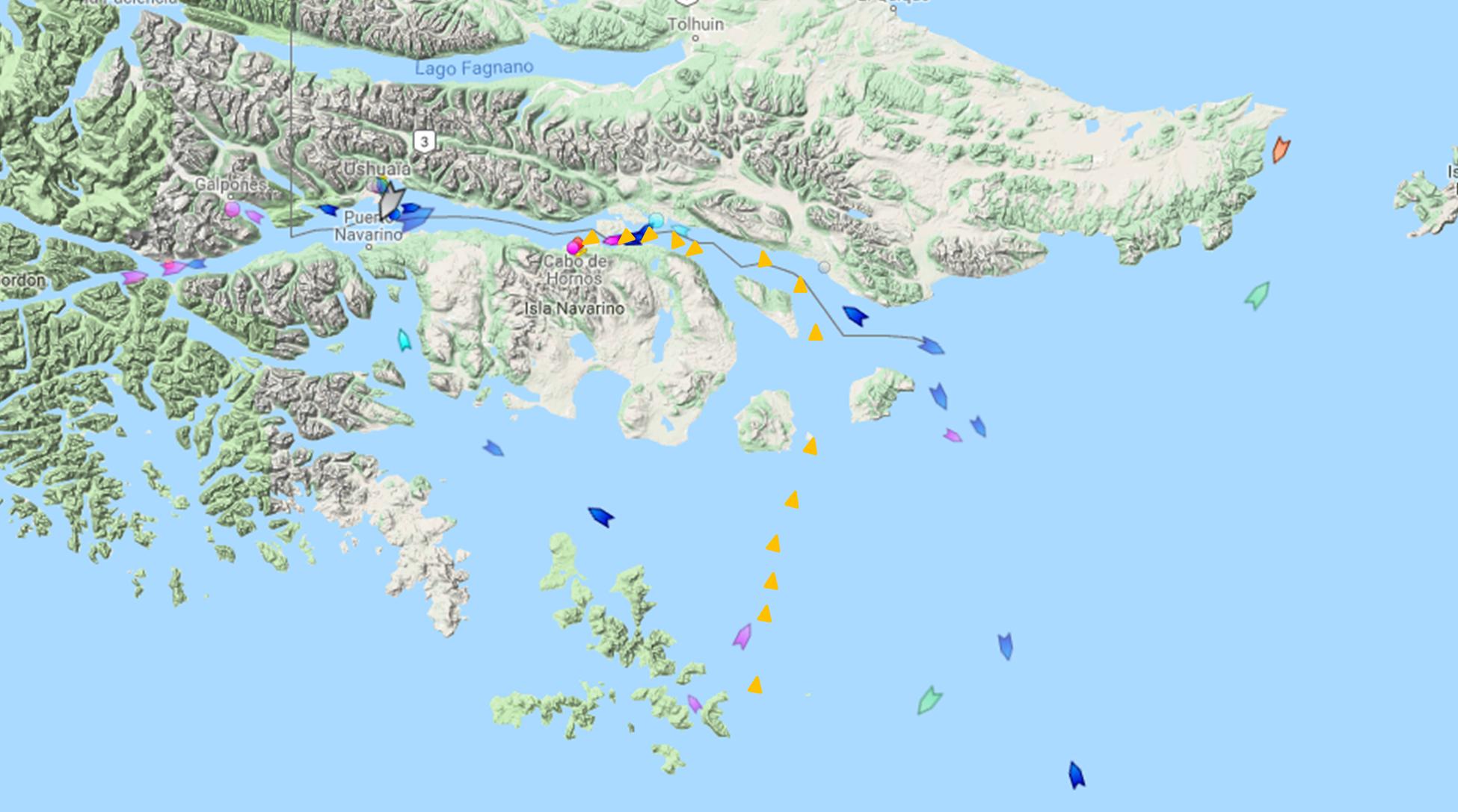Arrivee trace marine traffic